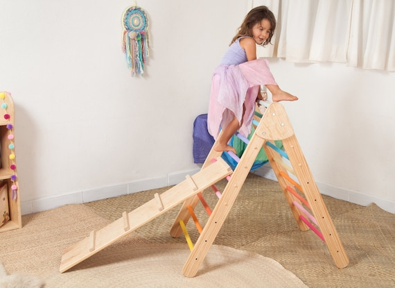 Toddler Climbing Triangle With Ramp Foldable Rainbow Pikler