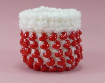 BEADED BASKET Valentines Day Hearts Red White Crochet Small Mini Sturdy Cute Bowl Container Storage Girls Room Gift For Her