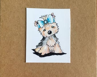 Hand drawn birthday card with yorkshire terrier pup.