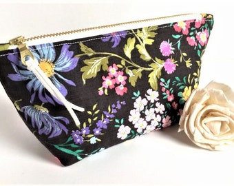 Mothers Day Gift - Floral Makeup Bag - Lipstick Holder - Bridesmaid Gift - Floral Cosmetic Bag - Small Makeup Bag - Small Zipper Pouch