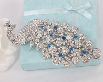 Azure Peacock - Austrian Rhinestone Crystal Bridal Brooch Pin