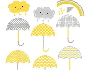 ON SALE Umbrellas clip art - Digital clip art, umbrella clipart, rainy season clip art, yellow and gray clip art, instant download clip art