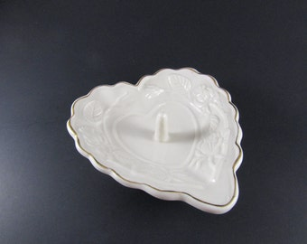Vintage Heart Shaped Ring Dish White Ceramic with Gold Trim