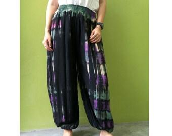 Boho Hippie Gypsy Tie Dye Rayon Smock Waist Long Aladdin Pants S-L (PR 10)