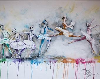 """Watercolor Print  - """"Beautiful day"""". Colorful ballerina dancers."""