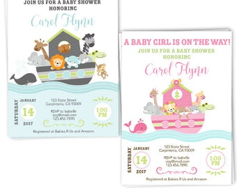 Noah's Ark Baby Shower Invitation for Boy in Blue and Girl in Pink, Neutral Gender - Animal Baby Shower Invitation- Bible Theme Baby Shower