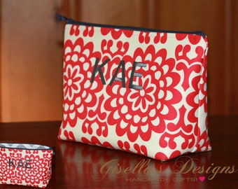 Personalized business card holder booklet custom made monogram large cosmetic bag travel organizer coral and grey embroidered makeup bag customize college colourmoves