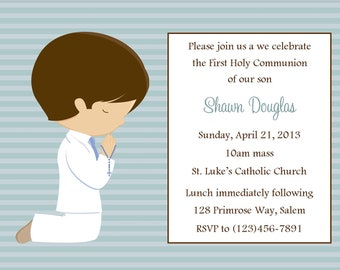 First Communion Invitation - Boy  (Digital File) / Boys First Communion Invitation / 1st Communion Invitation for Boys