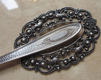 Vintage Hammered Silverware Shawl Pin & Ring Set