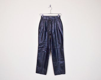 Vintage 80s Black Leather Pant Motorcycle Pant Moto Pant Biker Pant High Waist Pant Skinny Pant Pleated Pant Trouser Pant XS Extra Small