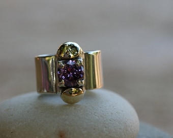 Silver Ring, Purple Stone Ring, Amethyst Silver Ring, Silver and Gold Ring,