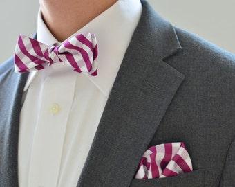 Bow Tie and Pocket Square Set in Plum Check- freestyle wedding groomsmen custom matching set self tie cotton plaid white purple handkerchief