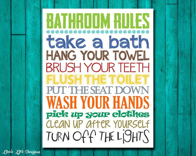 Bathroom Rules Boys Decor Wall Art