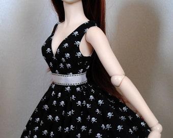 cute SKULL dress for Dollfie Dream; petticoat, belt, stockings included; by Dollmino
