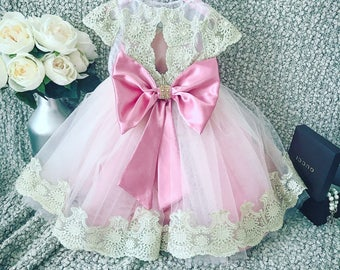 Gorgeous baby girl big bow pink royal lace dress