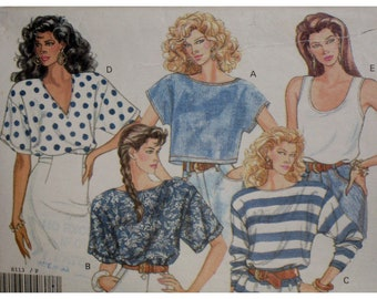 Crop Top Pattern, Pullover Blouse, Tank, V-neck, Jewel Neck, Sleeveless/Short/Long Sleeves, 1980s, Butterick No. 6113 Size 6 8 10 12 14