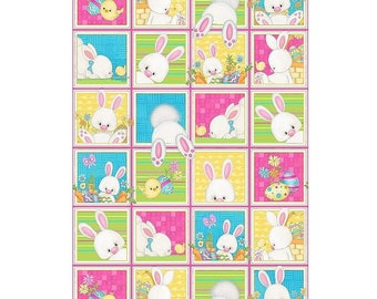 Clearance Sale~Henry Glass - Easter Bunny Blocks Panel 23In X 44In - Cotton Fabric