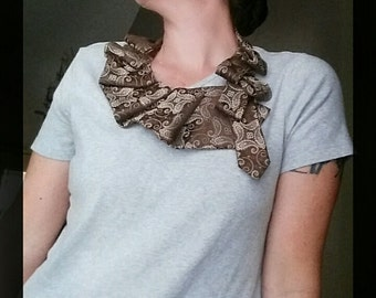 Chocolate ruffle collar, paisley tie necklace, brown necktie necklace, necktie scarf, upcycled tie scarflette, ruffle neck wear, ladies tie