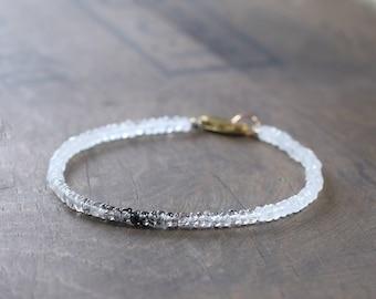 Ombre Black Rutile Rutilated Quartz & Moonstone Bracelet in Sterling Silver or Gold Filled, Delicate White Black Skinny Gemstone Bracelet