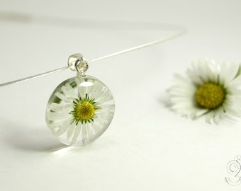 Daisy – tender blossom-necklace with a real white-yellow daisy in resin and silver-coated stainless steel wire