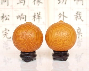 Artistic handcraft embossing  gourd calabash cucurbit ornament -plum blossoms, orchid, bamboo and chrysanthemum