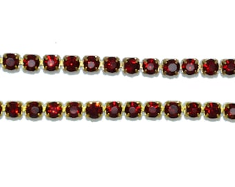 stunning siam red rhinestone 03mm chain 50 cm