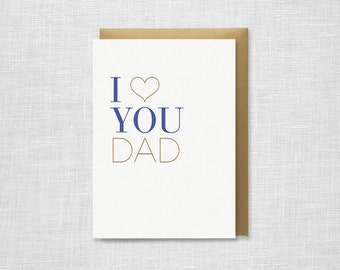 Letterpress Father's Day Card - I Heart You Dad