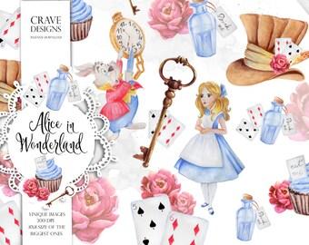 Alice in Wonderland Watercolor Clip Art Alice Clip Art Watercolor Alice Adventures Mad Hatter Eat Me Drink Me White Rabbit Key Illustration