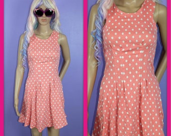 Vintage Peaches and Cream Mini Summer Dress with White Polkadots