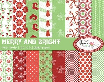 50%OFF Christmas digital papers, Christmas scrapbook paper, Christmas patterned papers, winter digital papers, Holiday digital papers, P 341