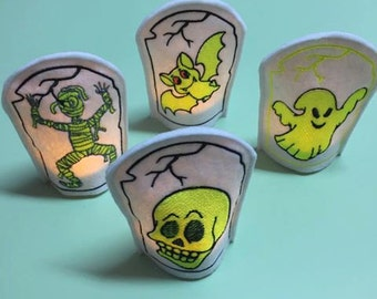 Embroidery files * Halloween LED Tea light cover * 20 pieces for 10x10 frame