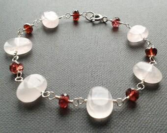 Rose quartz and garnet bracelet, sterling silver jewelry