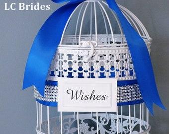 Royal Blue Well Wishes Box, Wedding Wishing Well, Shower Card Holder, Card Holder, Birdcage, Wedding, Baby Shower, Bridal Shower, White