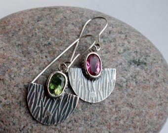 The bird of paradise -  OOAK SS earrings with natural  tourmalines