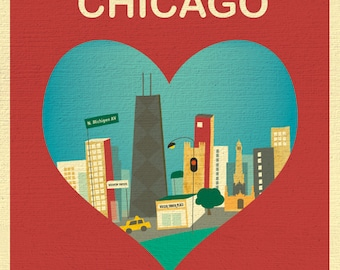 SALE Chicago 8x10 Skyline Print, Chicago Wall Art, Chicago Wedding Print, Chicago Baby, Vertical  Loose Petals City Print, style E8-O-CHI4