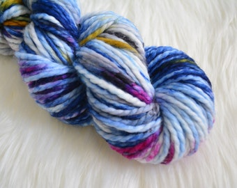 Galactica, Bulky Weight Yarn, Hand Dyed Yarn( 50 percent Superwash Merino Wool, 50 percent Nylon)