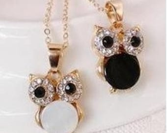 Vintage Retro Shell Owl Drill Collarbone Chain Necklace