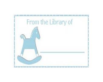 Blue Rocking Horse Book Label - Baby Boy Book Label - Digital  Download - Printable Book Label - Book Baby Boy Shower