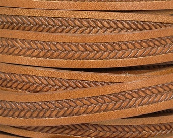 10mm Flat Embossed Braid Leather - Tan - 10FEB-3 - Choose Your Length