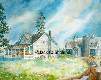 Bigfork Homestead Country Landscape Watercolor Notecard