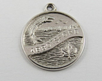 Water View of Abbotsford British Columbia Canada Sterling Silver Charm or Pendant.
