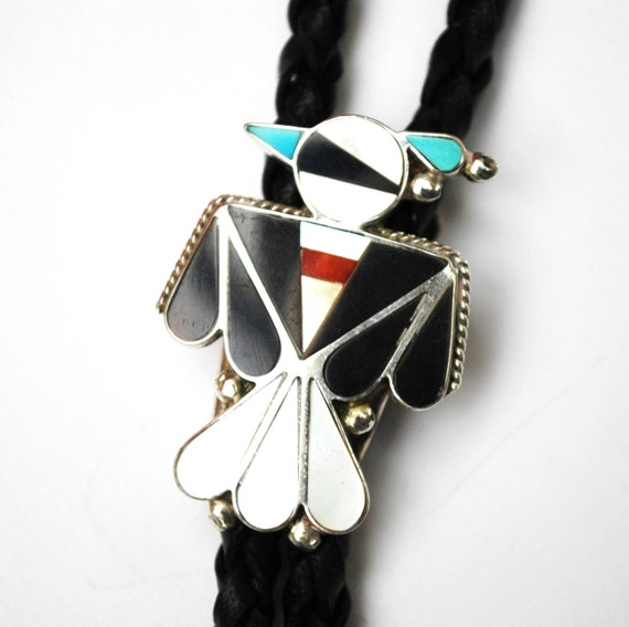 Thunderbird Bolo Tie  Gemstone inlay Turquoise Onyx Coral Mother of Pearl  Leather  Sterling  South Western  Zuni Tribal