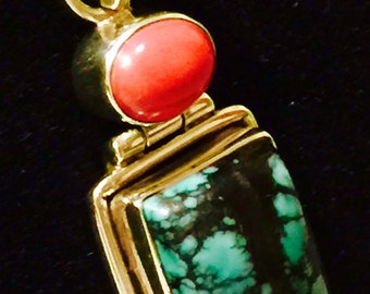 Vintage Red Coral/Turquoise Silver Set/Hinged Pendant in Modern Setting