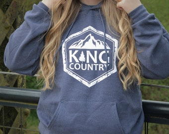 Heather Navy Hooded Sweatshirt ~ Screen Print ~ King Country Original Logo