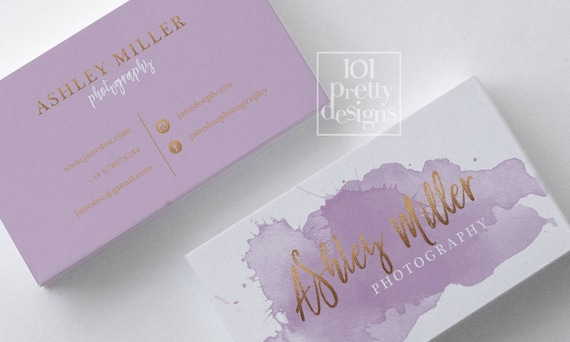Watercolor business card lavender rose gold printable business like this item colourmoves