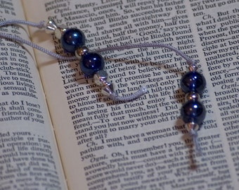 Pearly blue beaded bookmark, hardback size