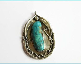 Vintage Sterling Silver Turquoise Pendant Big and Bold