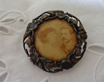 Antique French photo pin brooch, romantic faded sepia photograph couple brooch