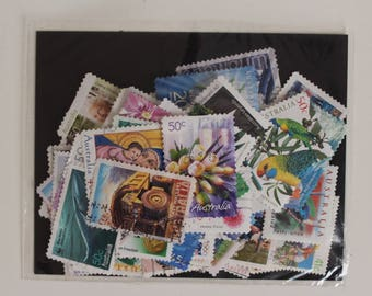 50 Australian Postage Stamps (Used) - Vintage Paper Ephemera