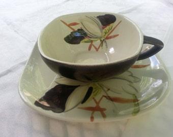 Mid Century Modern Redwing Teacup Lotus Pattern,  Bronze, HTF